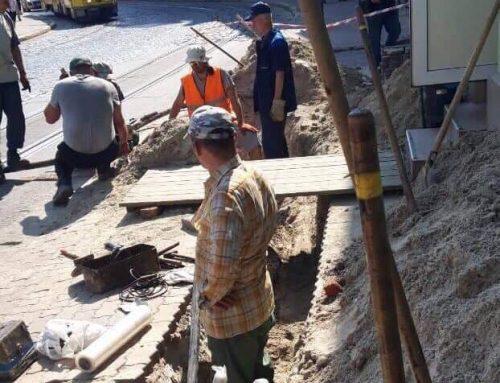 На ділянці вул. Франка 12 – 24 ЛКП «Львівелектротранс» проводить ремонтні роботи